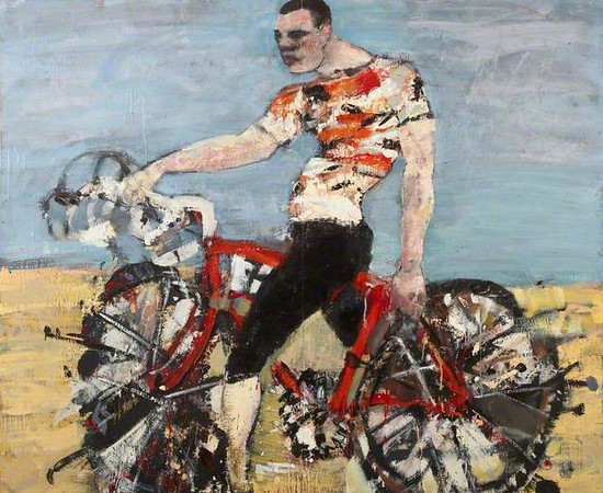 Peter McLaren, Cyclist, 1986, Oil on Board,  84 x 72 inches, City of Edinburgh Collection