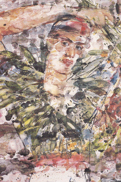 Peter McLaren, Cyclist with Laurel Wreath, 1988, Watercolour on Paper