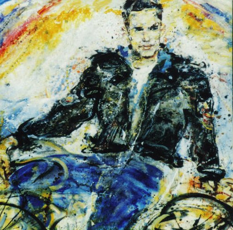 Peter McLaren, Holly Johnson 1989, Oil on Board 48 x 48 inches. Collection of Holly Johnson. A detail of this painting was used for his Album, Hollelujah