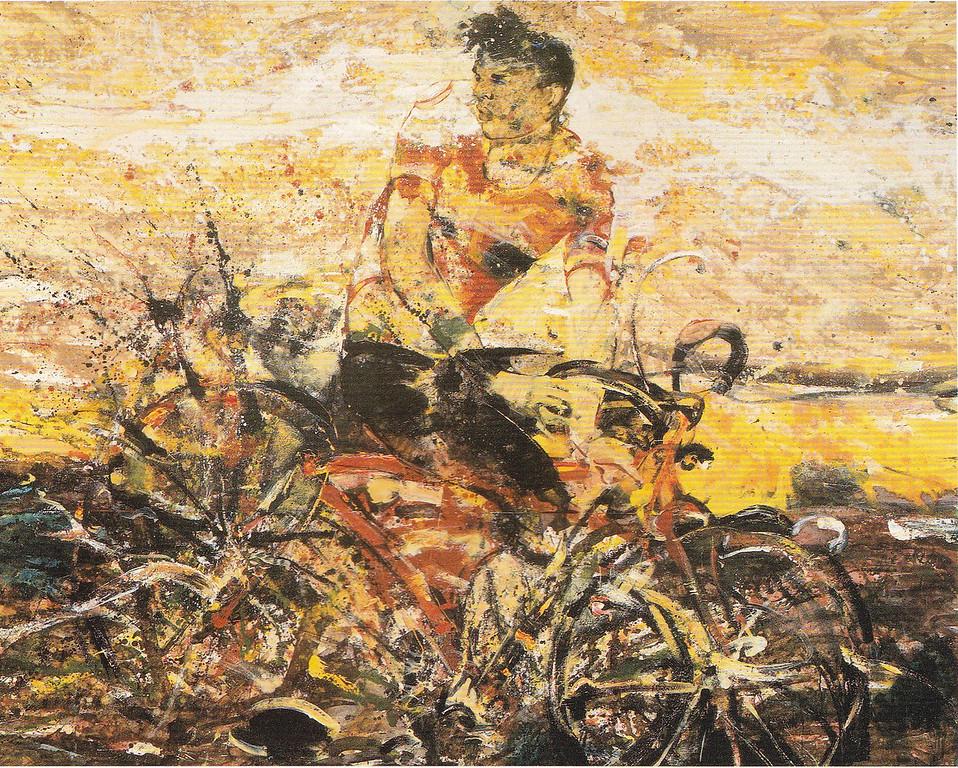 Peter McLaren, Figure in Landscape, Oil on Board, 96 x 72 inches