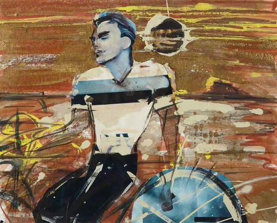 Peter McLaren, The Cyclist, Mixed Media & Collage on Paper, Art in Healthcare Collection