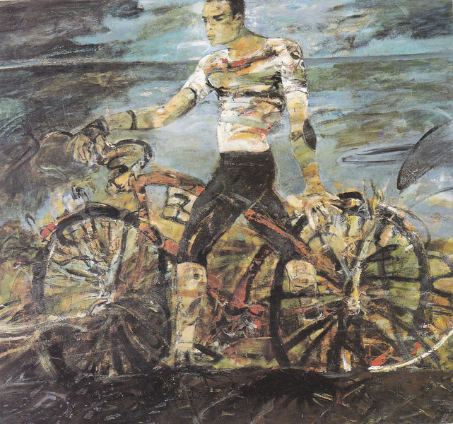 Peter McLaren, Cyclist, Oil on Board, 87 x 81 inches
