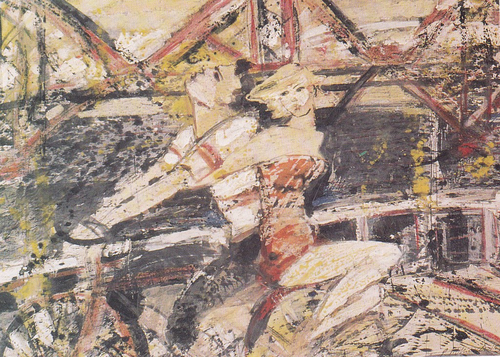 Peter McLaren, Lovers Crossing the Forth Bridge on a Bicycle, Watercolour on Paper