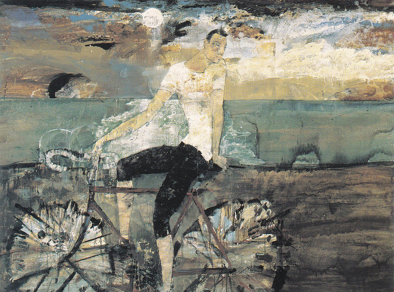 Peter McLaren, Cyclist in Moonlight, Oil on Board, 96 x 72 inches, Astrup Fearnley Museum of Modern Art, Olso