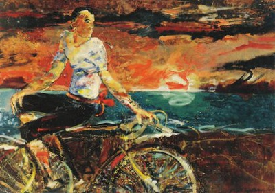 Peter McLaren, Cyclist, Oil on Board, 72 x 48 inches, Astrup Fearnley Museum of Modern Art, Oslo.