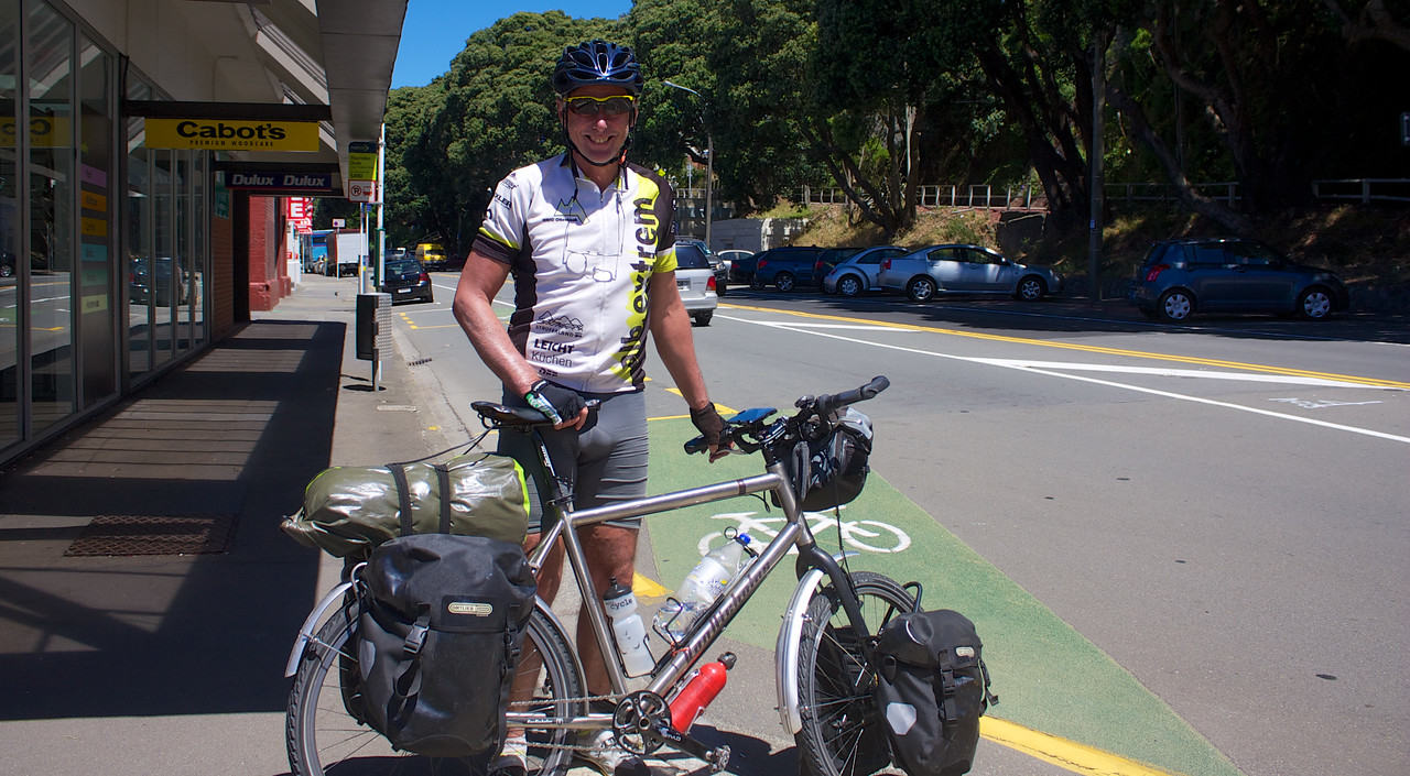 Ulli flew into Auckland from Germany and cycled to Wellington. He was about to catch the ferry across Cook Strait to begin the South Island leg of his journey.   I gave him my email address and told him to look me up on his return if he wants accommodation.