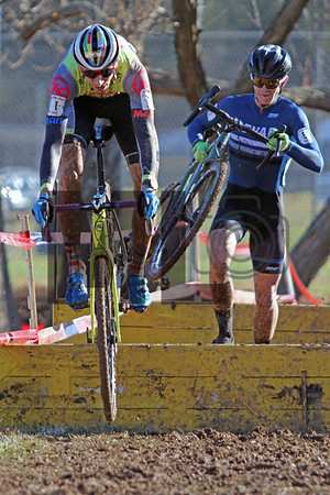 Kerry Werner (1) and Tyler Clark (5) compete in the NC Cyclocross North Carolina Grand Prix at Jackson Park in Hendersonville, N.C., on Nov. 24, 2019