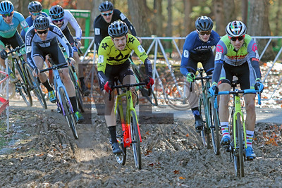 Eric Thompson (2), Tyler Clark (5) and Kerry Werner (1) compete  in the NC Cyclocross North Carolina Grand Prix at Jackson Park in Hendersonville, N.C., on Nov. 24, 2019