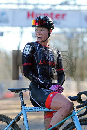 Allison Arensman (61) competes in the NC Cyclocross North Carolina Grand Prix at Jackson Park in Hendersonville, N.C., on Nov. 24, 2019
