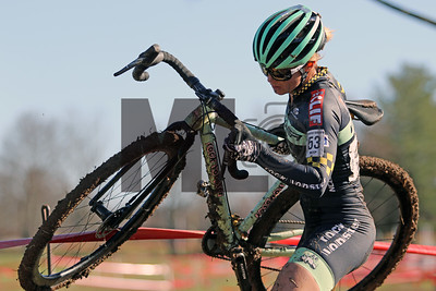 Caroline Nolan (53) competes in the NC Cyclocross North Carolina Grand Prix at Jackson Park in Hendersonville, N.C., on Nov. 24, 2019