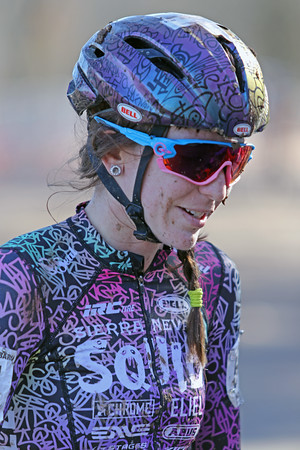 Samantha Runnels (51) competes in the NC Cyclocross North Carolina Grand Prix at Jackson Park in Hendersonville, N.C., on Nov. 24, 2019