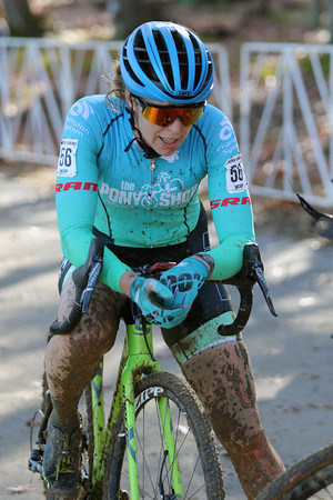 Erica Zaveta (56) competes in the NC Cyclocross North Carolina Grand Prix at Jackson Park in Hendersonville, N.C., on Nov. 24, 2019