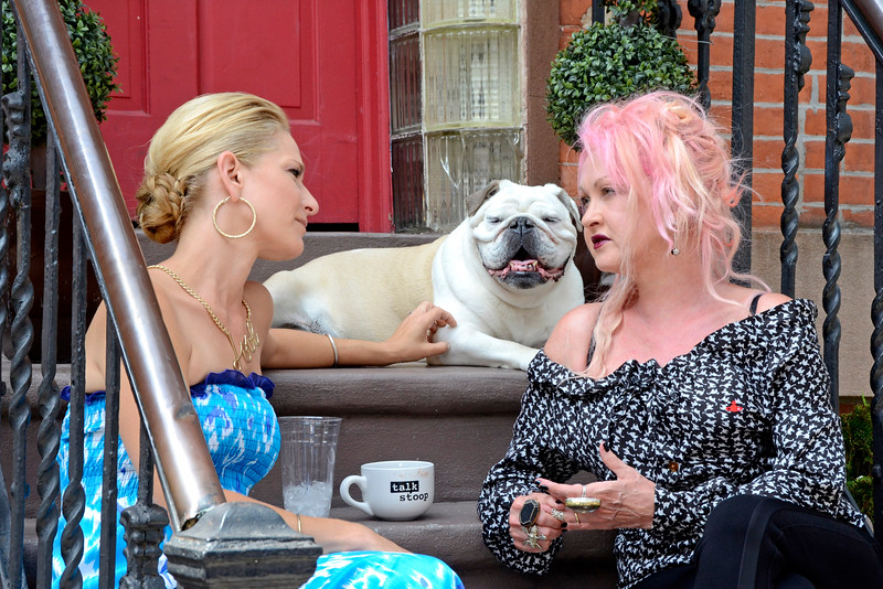 "COBBLE HILL, BROOKLYN, NEW YORK - JULY 29: ""On the stoop"" with Cat Greenleaf and pop star Cyndi Lauper on July 29, 2015 in Brooklyn, New York. (Photo by Lukas Maverick Greyson)"