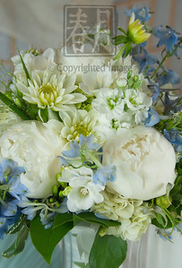 Exquisite White & Blue Bride's Bouquet