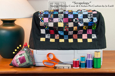 'Scrapology' Quilted Sewing Machine Cover with Quilted Chicken Pin Cushion