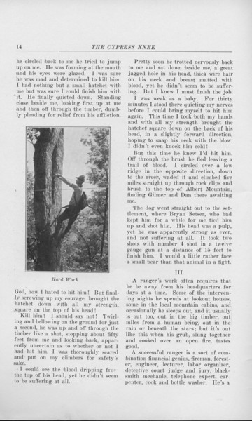 """The Cypress Knee, 1925, """"The Life of a Forest Ranger"""", Thos. W. Alexander, """"Hard Work"""", pg. 14"""