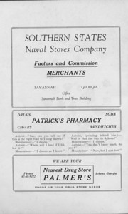 """The Cypress Knee, 1925, """"Southern States Naval Stores Company"""", """"Patrick's Pharmacy"""", """"Nearest Drug Store Palmer's"""" pg. 48"""