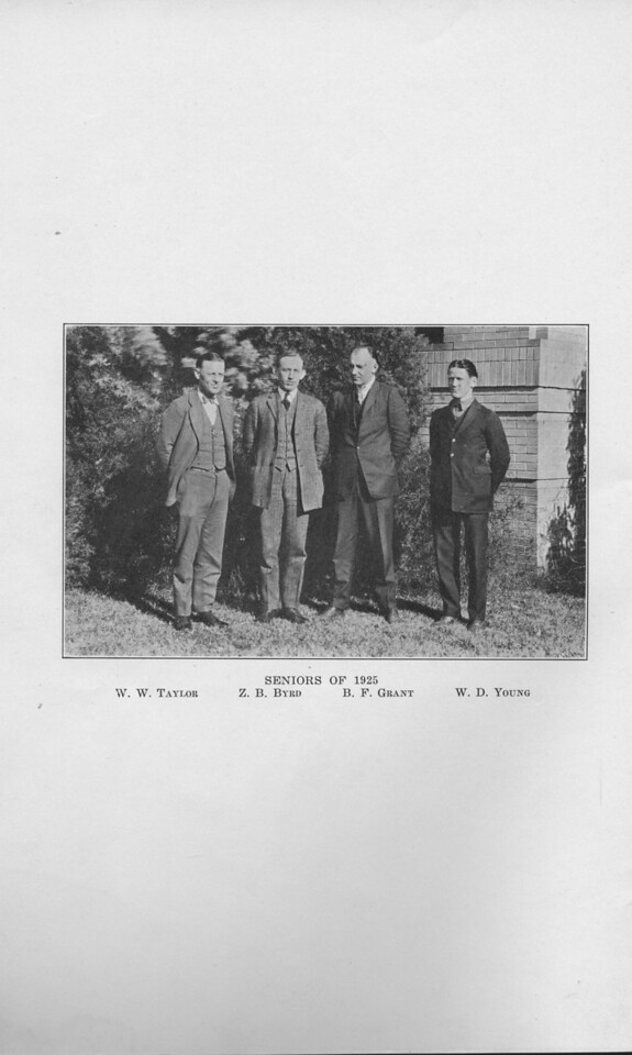 The Cypress Knee, 1925, Seniors of 1925, W. W. Taylor, Z. B. Byrd, B. F. Grant, W. D. Young.