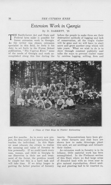 """The Cypress Knee, 1925, """"Extension Work in Georgia"""", D. Barrett, """"A Class of Club Boys in Timber Estimating"""", pg. 36"""