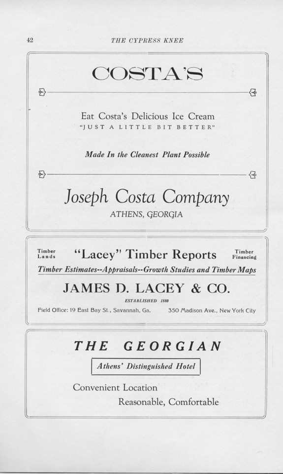 "The Cypress Knee, 1925, ""Costa's Ice Cream"", ""'Lacey' Timber Reports"", ""The Georgian Hotel"", pg. 42"