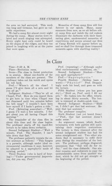 "The Cypress Knee, 1925, ""Camp Lore"", C. Bernard Beale, ""In Class"", pg. 27"