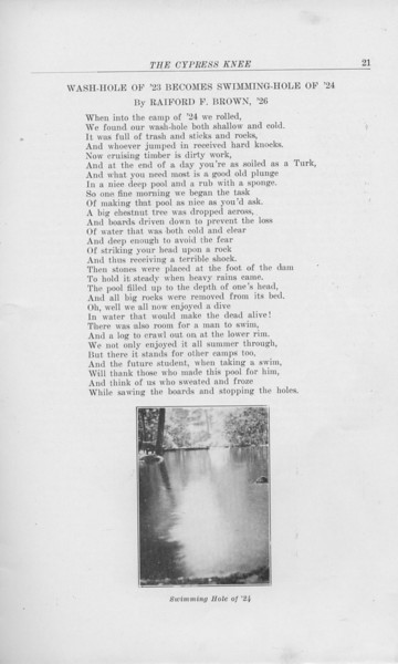 """The Cypress Knee, 1925, """"Wash-Hole of '23 Becomes Swimming Hole of '24"""", Raiford F. Brown, """"Swimming Hole of '24"""", pg. 21"""