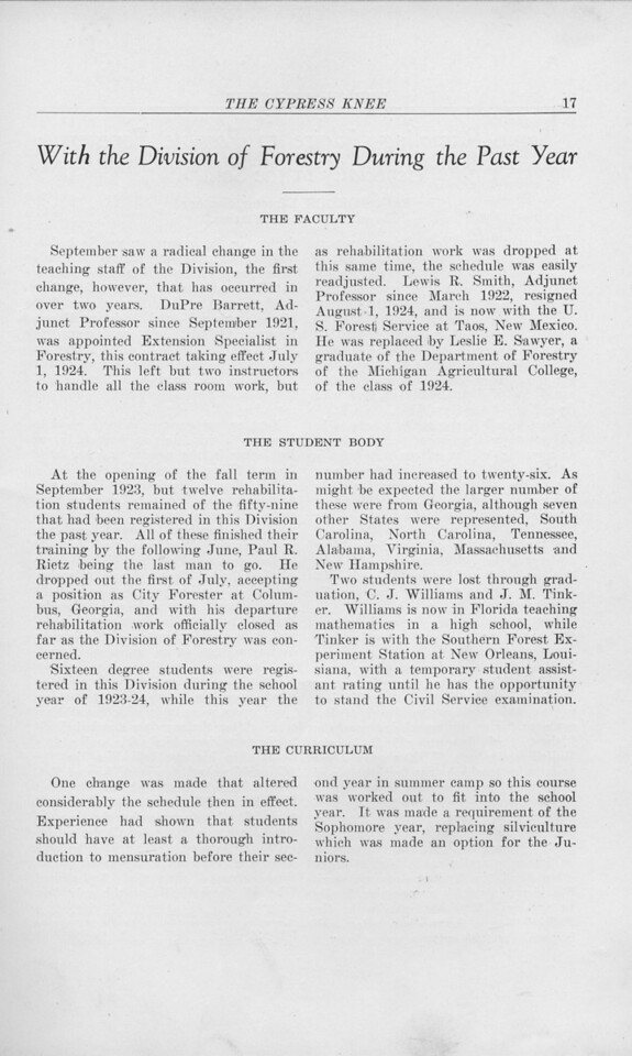 "The Cypress Knee, 1925, ""With the Division of Forestry During the Past Year"", pg. 17"