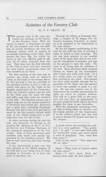 """The Cypress Knee, 1925, """"Activities of the Forestry Club"""", B. F. Grant, pg. 16"""