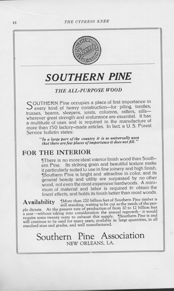 "The Cypress Knee, 1925, ""Southern Pine Association"", pg 44"