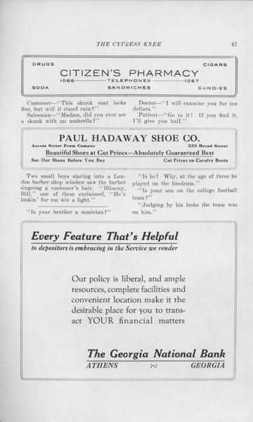 "The Cypress Knee, 1925, ""Citizen's Pharmacy"", ""Paul Hadaway Shoe Co."", ""The Georgia National Bank"", pg. 47"