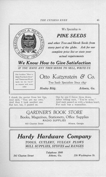 """The Cypress Knee, 1925, """"Otto Katzenstein and Co."""", """"Gardner's Book Store"""", """"Hardy Hardware Company"""", pg. 45"""