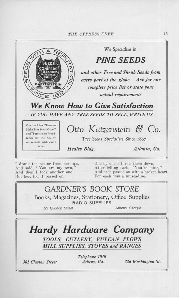 "The Cypress Knee, 1925, ""Otto Katzenstein and Co."", ""Gardner's Book Store"", ""Hardy Hardware Company"", pg. 45"