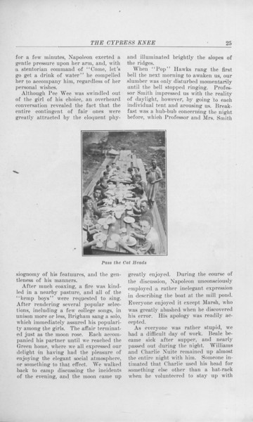 "The Cypress Knee, 1925, ""Camp Lore"", C. Bernard Beale, ""Pass the Cat Heads"", pg. 25"