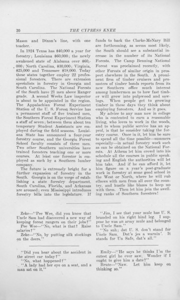 """The Cypress Knee, 1925, """"Some Rambling Advice to Possible Foresters Especially in the South"""", R. D. Forbes, Jokes, pg. 20"""