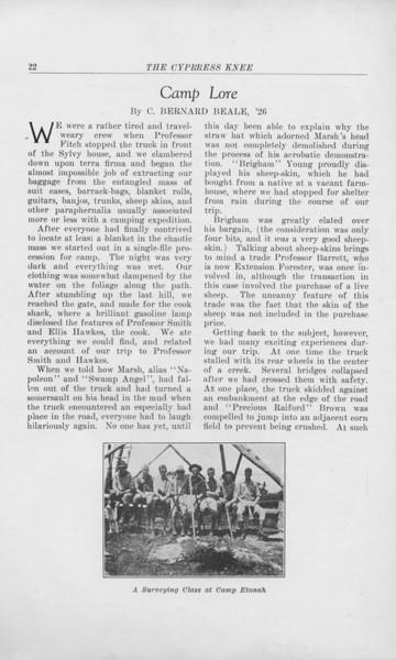 "The Cypress Knee, 1925, ""Camp Lore"", C. Bernard Beale, ""A Surveying Class at Camp Etonah"", pg. 22"