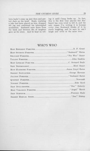 "The Cypress Knee, 1925, ""Mad and Scared"", Charles Elliot, ""Who's Who"", Superlatives, B. F. Grant, ""Seaboard"" Eaton, ""Pee Wee"" Bauer, John Gaskins, C. Bernard Beale, Eitel Bauer, James Lloyd Eaton, George Harman, ""Seaboard"" Eaton, Newcomb, Zeke Byrd, ""Doe"" Doherty, ""Angel"" March, Florence Slade, ""Doc"" Bishop, pg. 29"