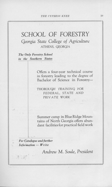 """The Cypress Knee, 1925, """"School of Forestry Advertisement"""", pg. 39"""