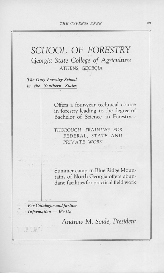 "The Cypress Knee, 1925, ""School of Forestry Advertisement"", pg. 39"