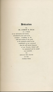 The Cypress Knee, 1929, Dedication, Dr. Andrew M. Soule, pg. 7