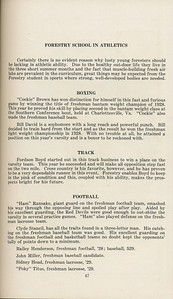 """The Cypress Knee, 1929, """"Forestry School in Athletics"""", Boxing, Track, Football, pg. 47"""