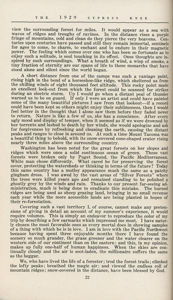 "The Cypress Knee, 1929, ""West of the Cascades"", A. K. Thurmond Jr., pg 22"