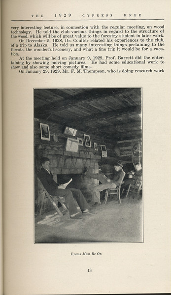 """The Cypress Knee, 1929, """"The Exclusive Club"""", W. A. Nesbitt, """"Exams Must Be On"""", pg. 13"""