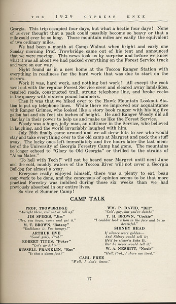 """The Cypress Knee, 1929, """"Foresters--or Bust"""", Bill David, """"Camp Talk"""", pg. 17"""