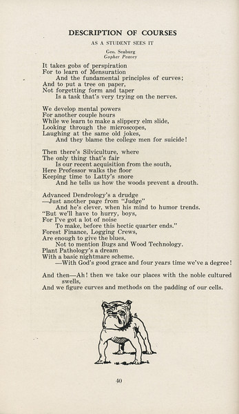 """The Cypress Knee, 1929, """"Description of Courses-As a Student Sees It"""", pg. 40"""