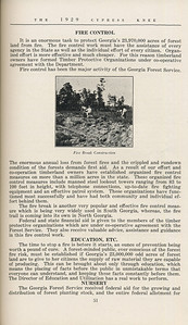 """The Cypress Knee, 1929, """"Georgia's Forest Service"""", B. M. Lufburrow, Fire Control, Education and Etc., Nursery, pg. 51"""