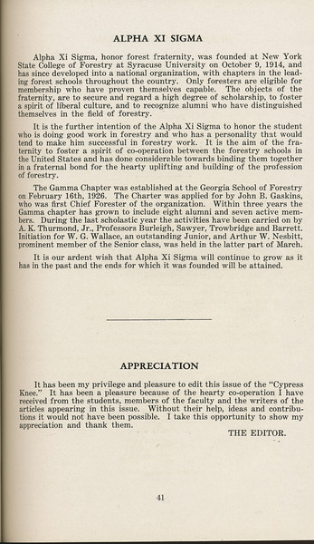 """The Cypress Knee, 1929, """"Alpha Xi Sigma"""", """"Editor's Remarks"""", pg. 41"""