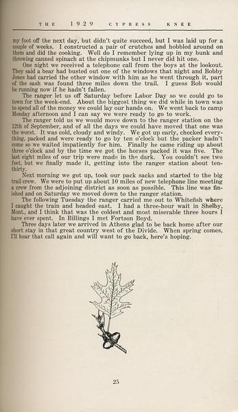 """The Cypress Knee, 1929, """"Where Men are Men"""", J. B. Littay, pg. 25"""