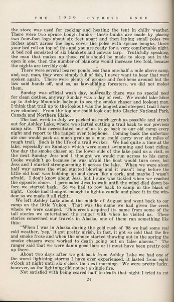 """The Cypress Knee, 1929, """"Where Men are Men"""", J. B. Littay, pg. 24"""