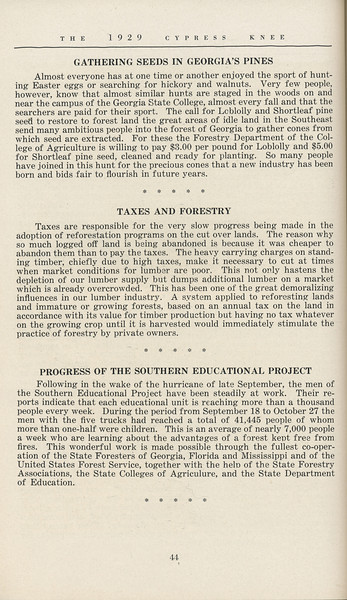 The Cypress Knee, 1929, Editorials, pg. 44