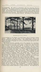 """The Cypress Knee, 1929, """"Georgia's Forest School Shows Progress"""", K. S. Trowbridge, """"Agricultural and Forestry Buildings"""", pg. 37"""
